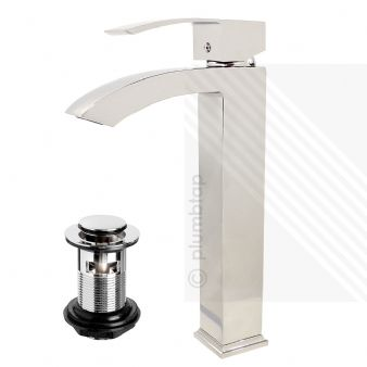 Arian 'Poppy' Bathroom Tall Basin Tap Mixer & Waste in Chrome